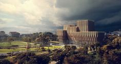 Zaha+Hadid+Designs+Five+Wooden+Towers+to+House+Cambodian+Genocide+Institute