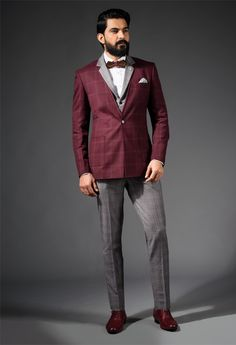 Burgundy Three Piece Suit #burgundy #check #notchlapel #waistcoat #grey #trousers #maroon #brogues
