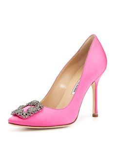 Hangisi Satin Crystal-Toe Pump, Pink by Manolo Blahnik at Neiman Marcus. I have these shoes in yellow satin but I think I need the pink ones too:)