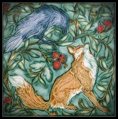 Exhibition of Sculpture and Tile by Mary Philpott The Carngegie Gallery, Dundas ON. Art Nouveau Tiles, Art Deco, Hare Pictures, Antique Tiles, Vintage Tile, Craftsman Tile, Pottery Art, Slab Pottery, Fox Art