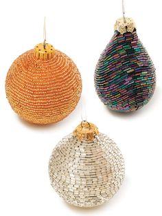 Beaded Ornaments - Ooooh, pretty! I need to do some beading this winter, I think.
