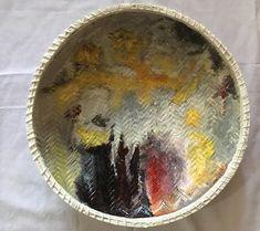 AFRICAN ART PAINTING /Large African Basket, white  Tanzanian Baskets //African Wall Basket, Decorative Bowl woven/woven Boho Basket