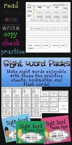 Fun sight word practice sheets! Great for morning work, seatwork, or homework! $