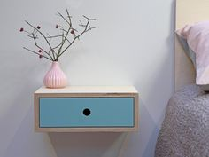 Stylish floating nightstand perfect for optimizing space in a bedroom whilst giving an uncluttered feel. Handcrafted from birch plywood for that Scandinavian vibe, the drawer fronts are available in four colours, natural, white, mint and baby pink Floating Nightstand, Floating Shelves, Plywood Shelves, Masonry Wall, Painted Drawers, Ral Colours, Basic Tools, Scandinavian Modern, Drawer Fronts