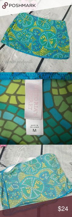 "Victoria's Secret Mosaic Swim Skirt size M Victoria's Secret Mosaic Swim Skirt size M in great used condition. Measues approx 12"" long. Perfect for beach or pool!  Please let me know if you have any questions. Happy Poshing! Victoria's Secret Swim"