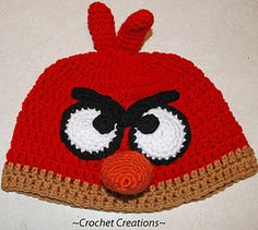 Crochet Creative Creations- Free Patterns and Instructions: Crochet Angry Bird Child Hat.my nephew likes angry birds. Crochet Animal Hats, Crochet Kids Hats, Crochet Beanie, Crochet Crafts, Cute Crochet, Crochet Projects, Knit Crochet, Knitted Hats, Ravelry Crochet