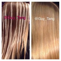 During and after balayage ombre