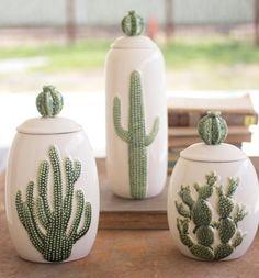 Ceramic Cactus Canisters Set/3