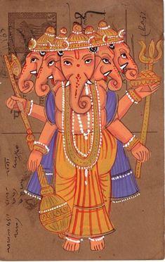 Panchamukhi Ganesha Painting Handmade Miniature Indian Hindu Old Postcard Art Ganesha Painting, Ganesha Art, Lord Ganesha, Painted Paper, Hand Painted, Om Gam Ganapataye Namaha, Batik Art, Postcard Art, Elephant Head