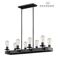 Luminaire rectangle suspendu de style industriel en métal au fini argent noirci. Idéal pour salle à manger et îlot.