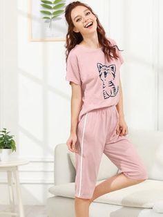 Buy Pink Cat Print Pajama Set for Women at Fashiontage. Girls Night Dress, Night Dress For Women, Cute Sleepwear, Girls Sleepwear, Loungewear Outfits, Pajama Outfits, Girls Fashion Clothes, Girl Fashion, Fashion Outfits