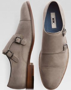 Joseph Abboud Gray Double Monk Strap Shoes