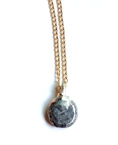 Silver disk necklace + gold chain www.zahavah.com