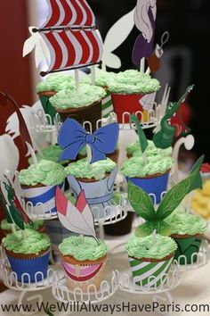 Peter Pan cupcakes for a birthday party