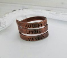Personalized Copper Wrap Ring, Hand Stamped ring, adjustable ring, personalized gift, name ring, anniversary gift