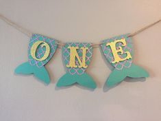 One banner high chair banner Mermaid birthday first