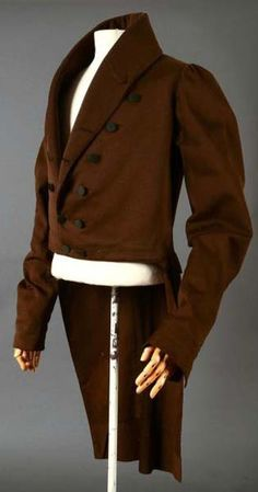Wool coat An chocolate brown wool coat with a large padded collar. (Pinned mainly for colour and tails; Antique Clothing, Historical Clothing, Historical Dress, Jane Austen, Brown Wool Coat, Man's Overcoat, Regency Dress, Regency Era, 19th Century Fashion