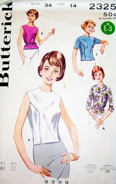"1960s Summeer Back Button Blouse Vintage Sewing Pattern, 4 Versions Butterick 2325 bust 34"" uncut"