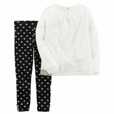 22d4edc27572 NWT Carters Baby Girl Clothes 6 Months 2 Piece Long Sleeve Shirt Pants  Outfit  fashion