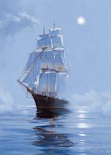 Sailing ship in fog