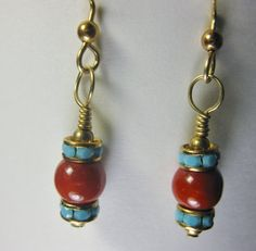 Gold Plated Earrings with Coral Mountain Jade by linksandloops, $15.00