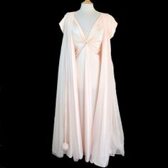 This is lovely!!!   Vintage LUCIE ANN POM POM Peignoir SET Robe Nightgown Gown Chiffon CANDLELIGHT