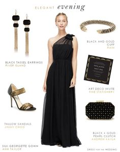 This black evening gown for a wedding is a beautiful choice for a formal bridesmaid dress, or a mother of the bride dress, or a guest of a black tie wedding Black Tie Bridesmaids, Formal Bridesmaids Dresses, Wedding Guest Gowns, Wedding Attire, Wedding Dress, Great Gatsby Party Outfit, Long Black Evening Dress, Black Tie Wedding, Trendy Wedding