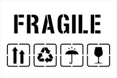 Fragile Symbol FragileTemplate for Laser Cutting-Packaging-(Up Arrows,Shower On Umbrella,Recycle AndGlass Symbol)-Make your own Stencil Fridah Kahlo, Make Your Own Stencils, Up Arrow, Etiquette Vintage, Custom Stamps, Layout Inspiration, Graphic Design Illustration, Logos, Signage