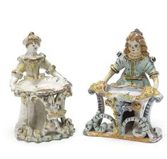 Two Naples figural salts, one perhaps Ariano Irpino, second half 18th century