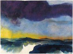 Emil Nolde watercolour landscape. I love how some areas are left white and incomplete