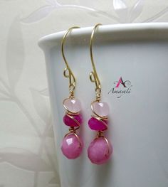 Hand wrapped earrings pink mix gold brass by Amayeli on Etsy, $20.00