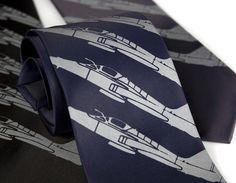 Airplane necktie Plane Stripe tie. Fighter jet by Cyberoptix