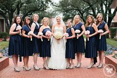 Pretty maids in a row - navy and pink #wedding
