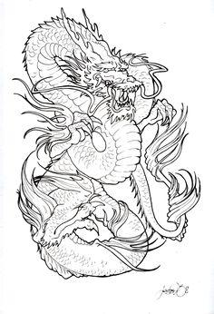 Dragon Blossom Drawing | Dragon Tattoo Stencils
