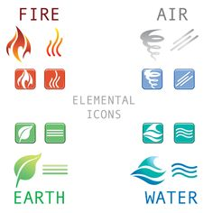 VextorArt: Free Vector Earth Wind Fire and Water Four Elements