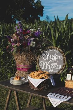chicken and waffle bar http://www.weddingchicks.com/2013/10/01/plum-and-gold-wedding/