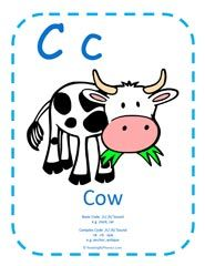 Teaching the Letter C and /k/ sound - large alphabet letter printable plus free worksheet.
