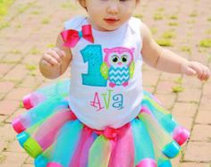 Baby girls 1st 2nd 3rd 4th 5th Cute Owl Birthday Satin ribbon trim tutu outfit/pink, green, turquoise