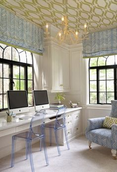 Blue + chartreuse workspace. wallpapered ceiling, quadrille chair & roman shades, and David hicks pillow | annsley interiors