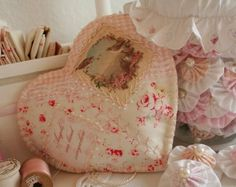 pretty stitched hearts in tilda fabrics
