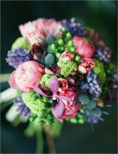 Purple bouquet full of funky texture. Floral Design: Limelight Floral Design ---> http://www.weddingchicks.com/2014/06/11/diy-springtime-bouquets/