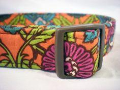 Dog Collar Custom Handmade Brown Magenta Green Teal Orange Flowers Fabric from PinkysPetGear on Etsy. $17.99, via Etsy.