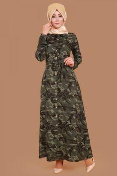 Önden Düğmeli Çiçekli Elbise MDP2065