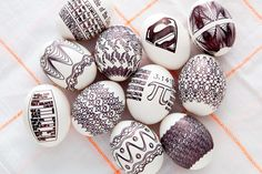 Use a fine point Sharpie and the Egg-Bot to make these eggs.