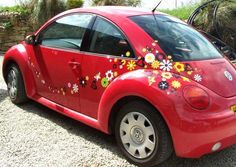 Volkswagen Beetle with Flower stickers