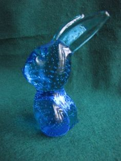 KOSTA BODA? ORREFORS? Pukeberg? Art Glass RABBIT Figurine blue Sweden