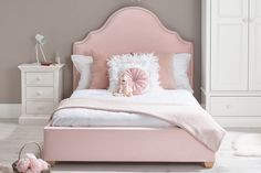 The sumptuous Bella Small Double Upholstered Bed is delicately detailed with hand-fixed pewter studs and is now available to purchase from Room to Grow. Bed For Girls Room, Big Girl Rooms, Girls Bedroom, Bedroom Decor, Bedroom Ideas, Bedrooms, Dream Bedroom, Kids Room, Double Beds For Sale