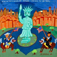 STATUE OF LIBERTY / Malcah Zeldis (b. 1931), New York City, 1985, oil on masonite, 18 x 18 in., American Folk Art Museum, promised gift of the artist, P2.2009.1