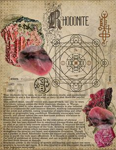 Rhodonite, Book of Shadows printable page. Wiccan Spells, Magick, Witchcraft, Wiccan Art, Crystals And Gemstones, Stones And Crystals, Crystal Magic, Practical Magic, Book Of Shadows