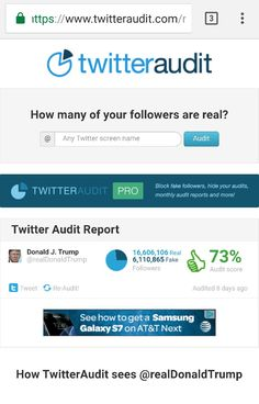 """How many of your Twitter followers are real?"" By the way, take a look at how many fake followers Trump has...6 million+!"